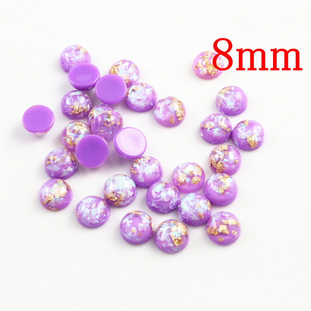 New Fashion 8mm 40pcs/Lot Purple Color Built-in Metal Foil Flat Back Resin Cabochons Cameo V7-34