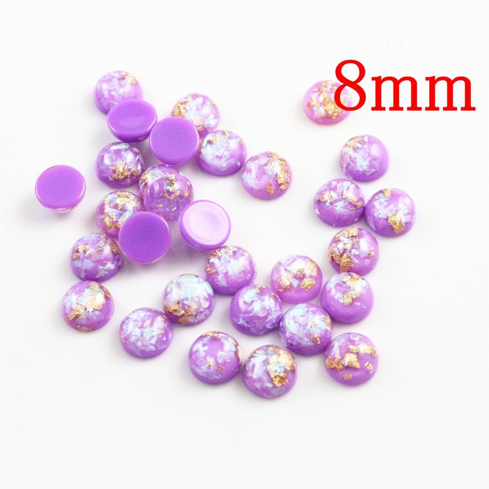 New Fashion 8mm 40pcs/Lot Purple Color Built-in Metal Foil Flat Back Resin Cabochons Cameo V7-34