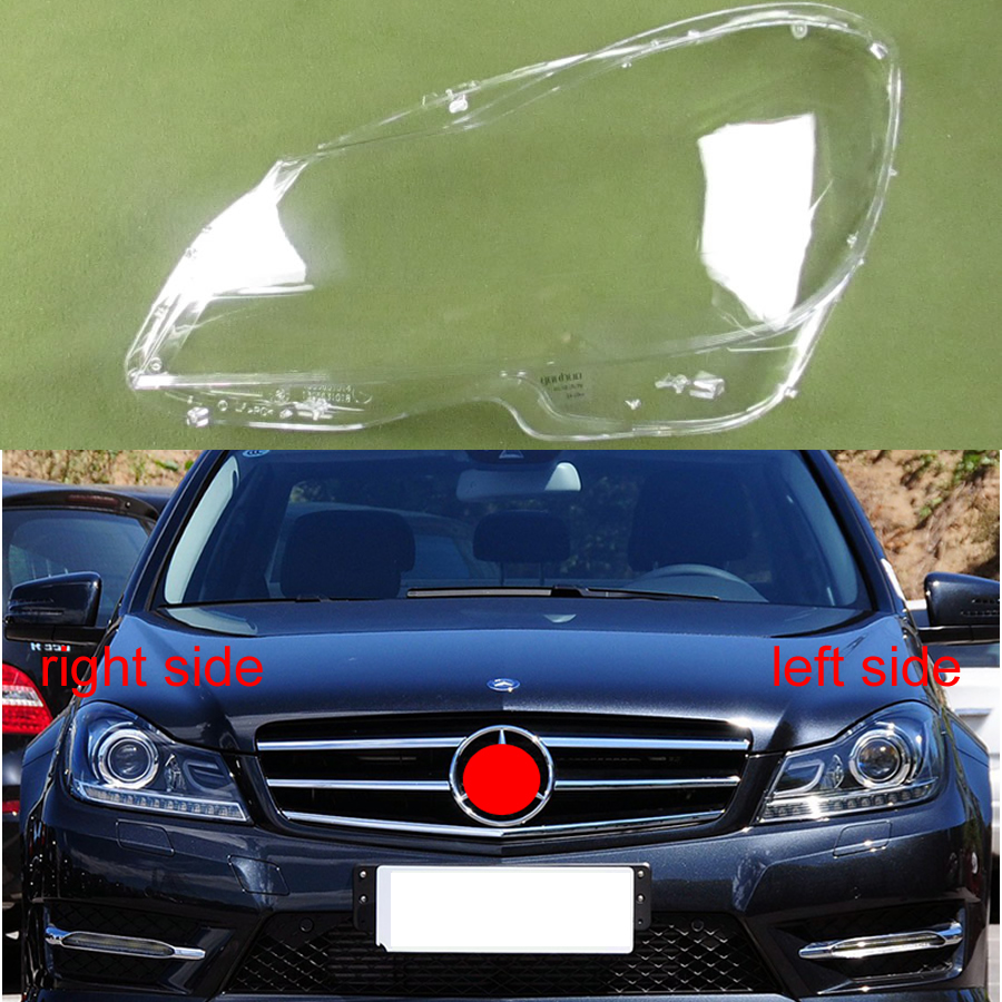 Color : Left XIANGSHAN Front Headlight head light lamp Lens Cover Shell Lampshade for Mercedes Benz W205 C180 C200 C260L C280 C300 2015-2017