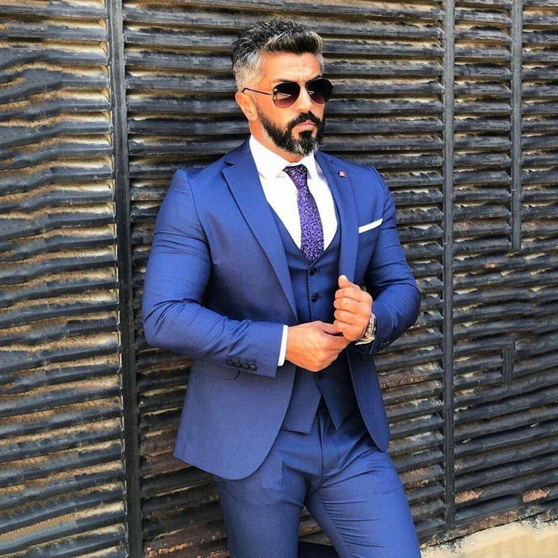 Royal Blue Suits Man 2019  Wedding Man Jacket Groom Tuxedo Outfit 3Piece Costume Homme Slim Fit Man Blazer Terno Masculino