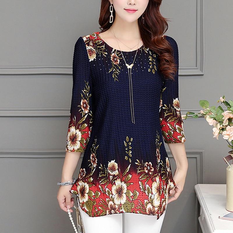 2019 New Fashion Women Blouse Shirt Plus Size 4XL Chiffon Red Women's Clothing O-neck Floral Print Feminine Tops Blusas 993D