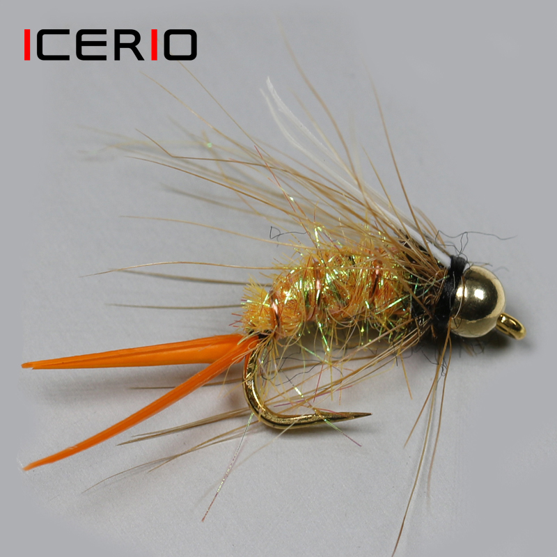 6PCS//Set  Size #12 Brass Bead Head Nymph Fly Trout Fly Fishing Bait Lures
