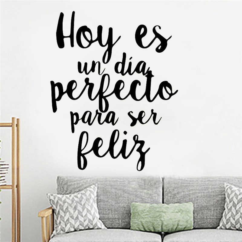 WJWY 새겨진 스페인어 문구 벽 스티커 거실 침실 홈 장식 어린이 방 비닐 아트 벽화 장식