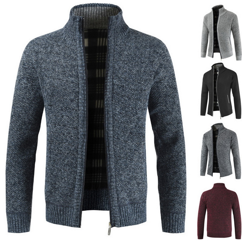 Men's Casual Slim Full Zip Thick Knitted Cardigan Sweaters With Pockets  2019 New Fashion Men's Classic Zip Coat