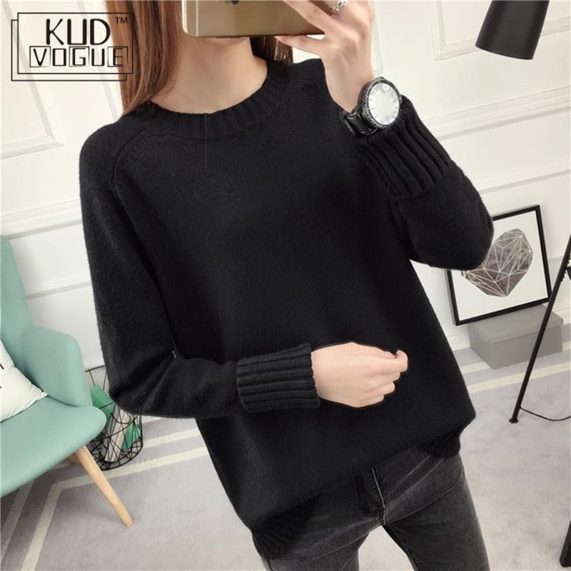 Korean Lady Sweater Pullover Autumn Winter Jumper Knitted Womens Clothing O-neck Long Sleeve Solid Slim Elastic Cashmere Sweater