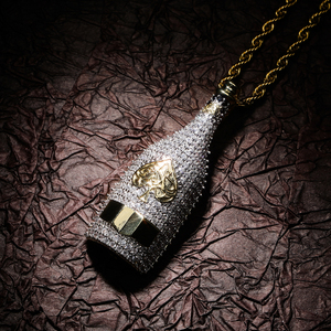 Image 4 - TOPGRILLZ Big Wine Bottle Necklaces Full Cubic Zircon Iced Out Pendants Hip Hop Men Women Gold Color Vogue Jewelry For Rocker
