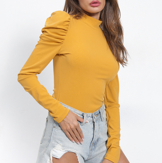Sigutan explosion models eBay new solid color round neck princess sleeves Slim T-shirt female T6288