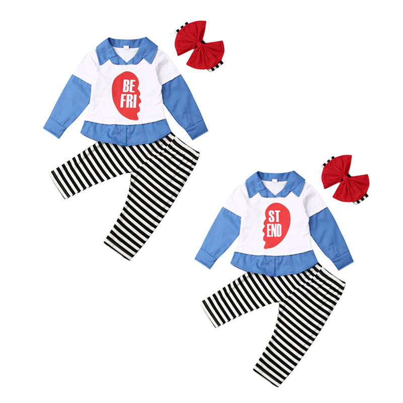 3Pcs Autumn Toddler <font><b>Kids</b></font> Baby Girl <font><b>BEST</b></font> <font><b>FRIEND</b></font> Clothes Set <font><b>Shirt</b></font> Long Sleeve Top+Stripe Pants+Headband 1-5T Girls Outfits image