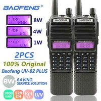 "שני הדרך 2pcs Baofeng UV82 8W 3 ווקי טוקי 3800mAh Power Dual Band Dual PTT שני הדרך רדיו UV 82 רדיו Ham UV82 Tokivoki מקמ""ש (1)"