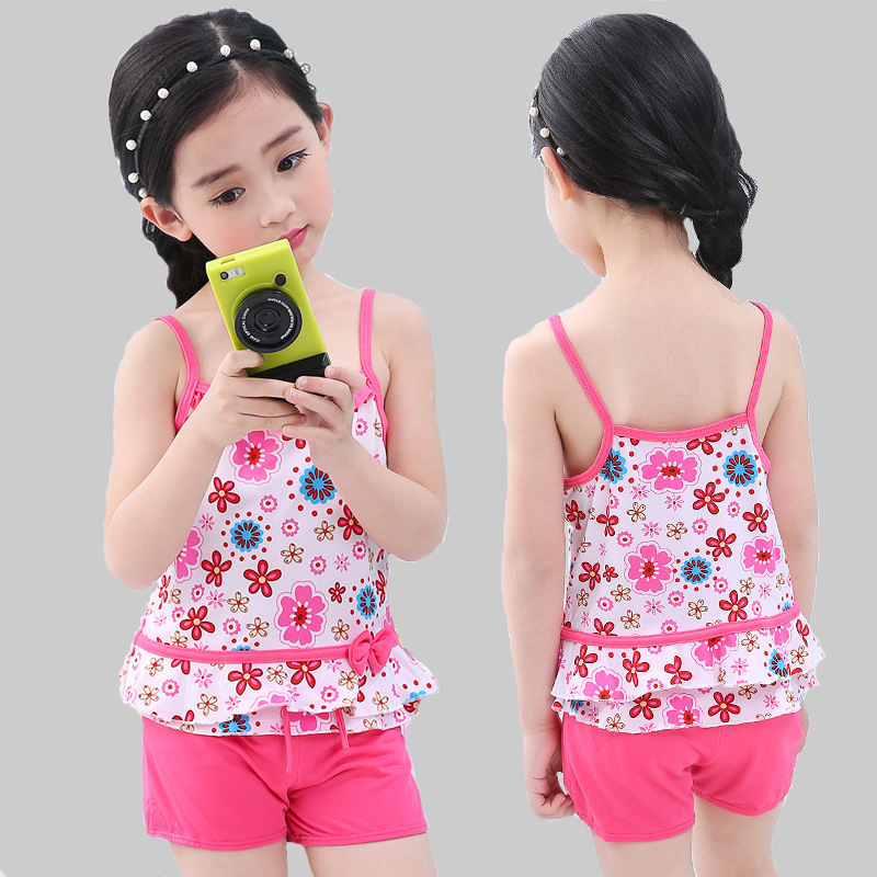 Hipster Korean-style GIRL'S Swimsuit Size Children Floral-Print Condole Belt Split Type Baby Swimsuit Set Bikini