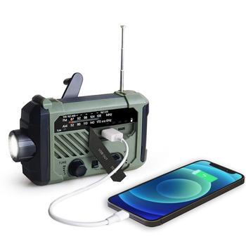 Radio przenośne korba ręczna AM FM NOAA w nagłych wypadkach 3-in-1 lampka do czytania latarka ładowania słonecznego 2000mAh moc banku na telefon komórkowy tanie i dobre opinie HAIMAITONG Wbudowany głośnik CN (pochodzenie) AM FM Akumulator Z tworzywa sztucznego 155*94*49 HS-2020 B 3 7V 2000 mAh 18650