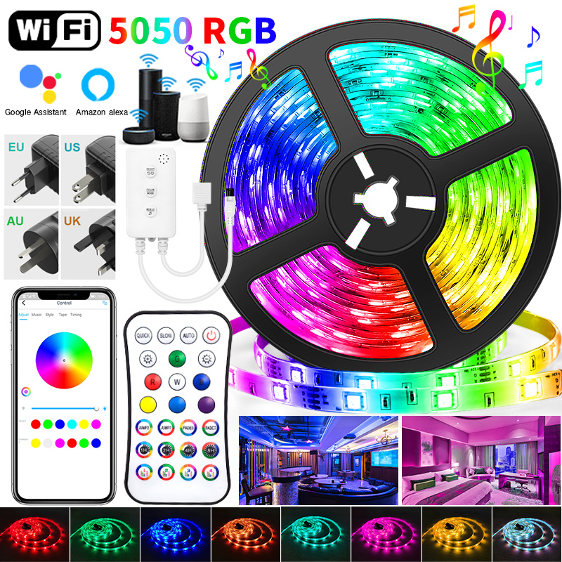 30M WIFI LED Strip Lights Bluetooth RGB Led light 5050 SMD Flexible 20M 25M Waterproof 2835 Tape Diode DC WIFI Control+Adapter