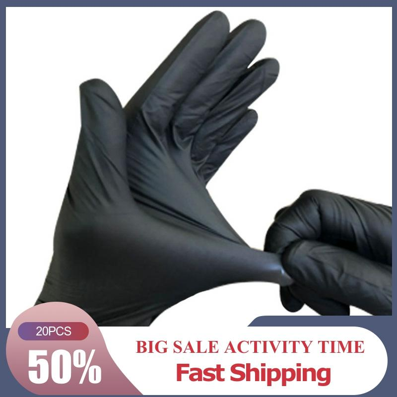 Hot Sale Fast Shipping 20 PCS Black Latex Gloves Disposable Nitrile Work Gloves For Industrial Rubber Gloves Medical