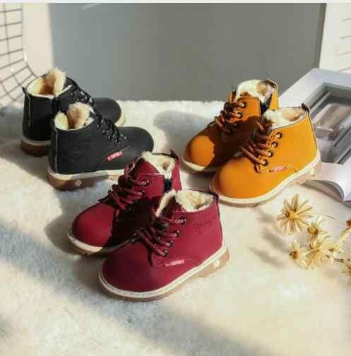סתיו וחורף ילדי של קטיפה חם שלג מגפיים מקרית בני החלקה מרטין מגפי אופנה בנות עבה עור נעליים