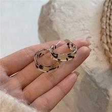 XIALUOKE S925 aguja Bohemia geométrica C resina de grano de leopardo, pendientes para las mujeres de moda Vintage Joker Party joyería regalos 8