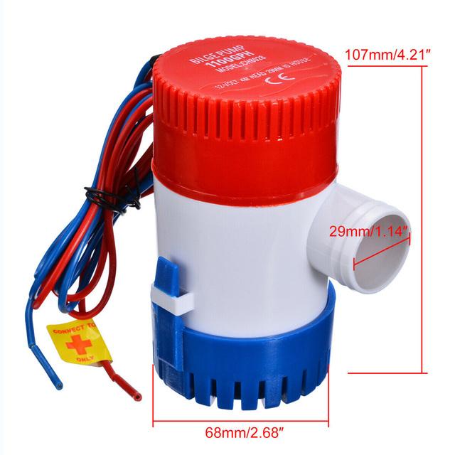 12V Electric Pump 1100GPH Marine Bilge Pump Submersible Boat Water Pump