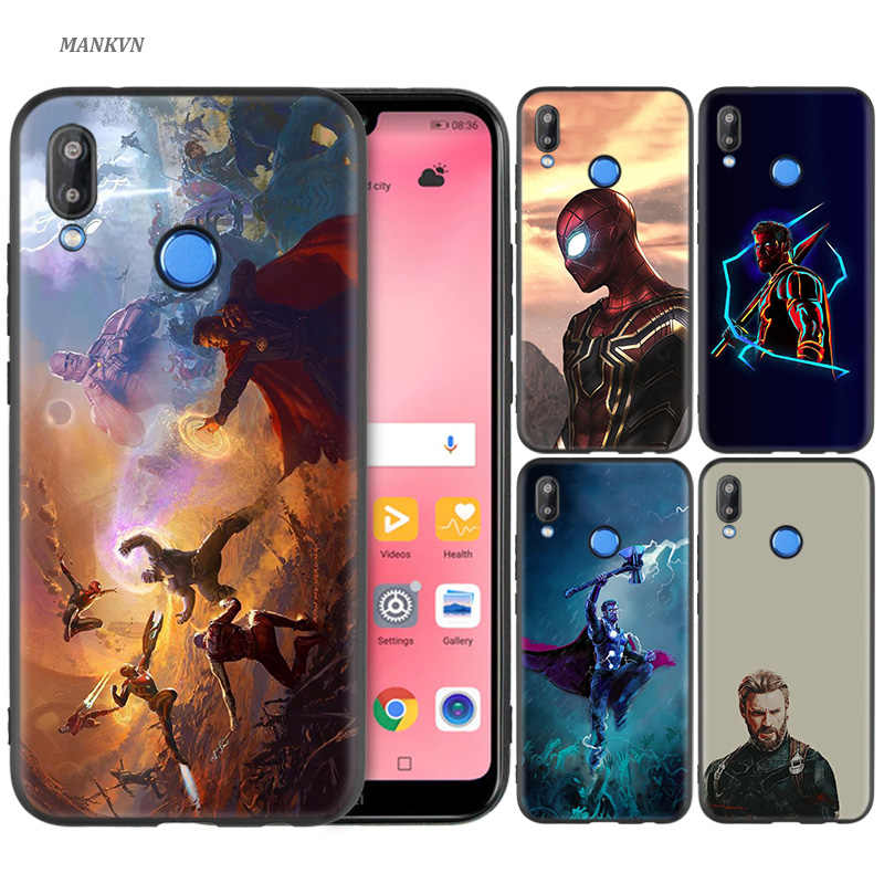 Black Silicone Case Bag Cover for Huawei P30 P20 P10 P9 Mate 10 20 30 Note 5 5i Lite Pro P Smart Z 2019 Shell Marvel Superheroes