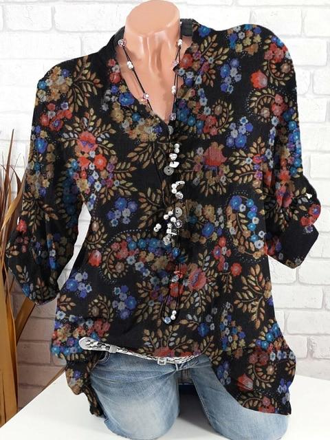 New fashion big size long-sleeved shirt casual blouse temperament loose shirt ladies top