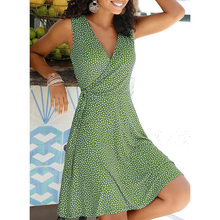 Women Polka Dot Dress 2021 Summer V Neck Sleeveless Bohemian Beach Dress Female Elegant Bandage A-Line Dress Mini Tank Vestidos