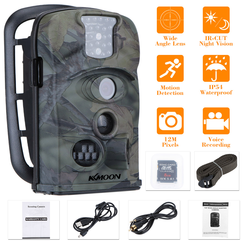 KKmoon 12MP 720P 120° Wide Angle HD 850nm IR IP54 2.4inch LED Screen Game Camera Security Scouting Hunting Trail Camera 8GB Card image