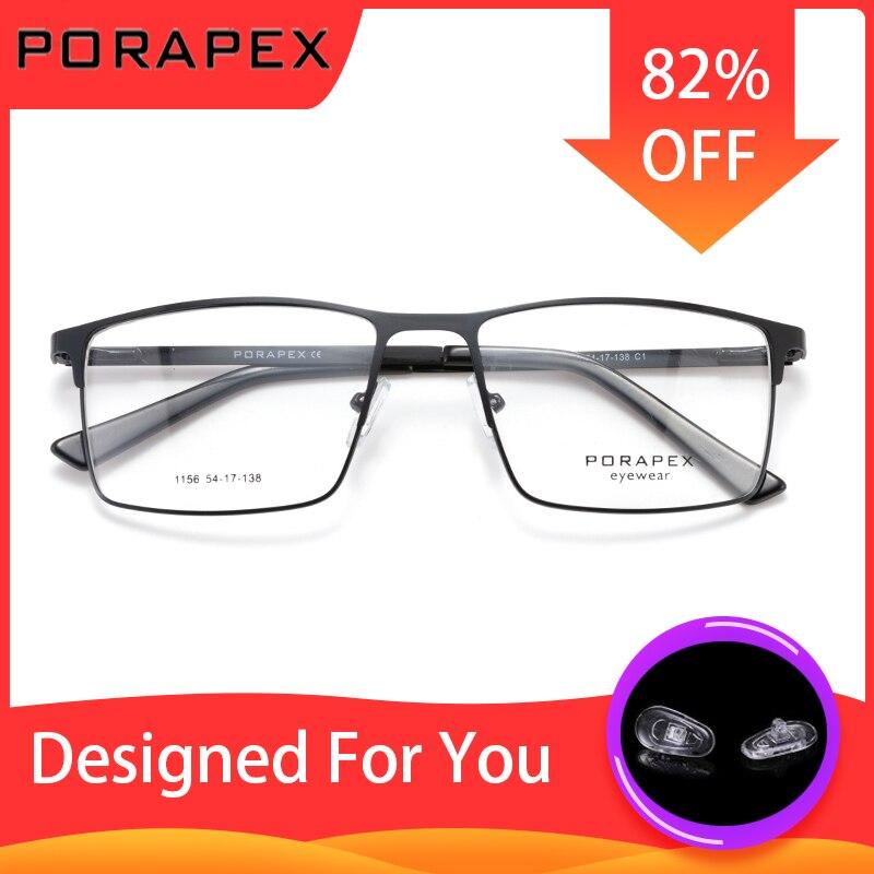 PORAPEX DESIGN Titanium Alloy Glasses Frame Men Fashion Male Square Rimless Eyeglasses Frame Myopia Prescription Glasses Eyewear