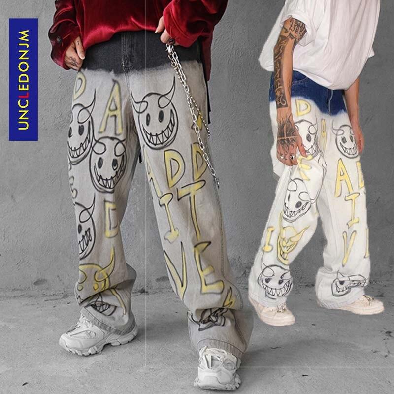 UNCLEDONJM Graffiti Jeans For Men Letter Denim Jeans Pants Destroyed Stretch Slim Fit Hop Hop Pants Loose Fit Denim Jean AD-1981