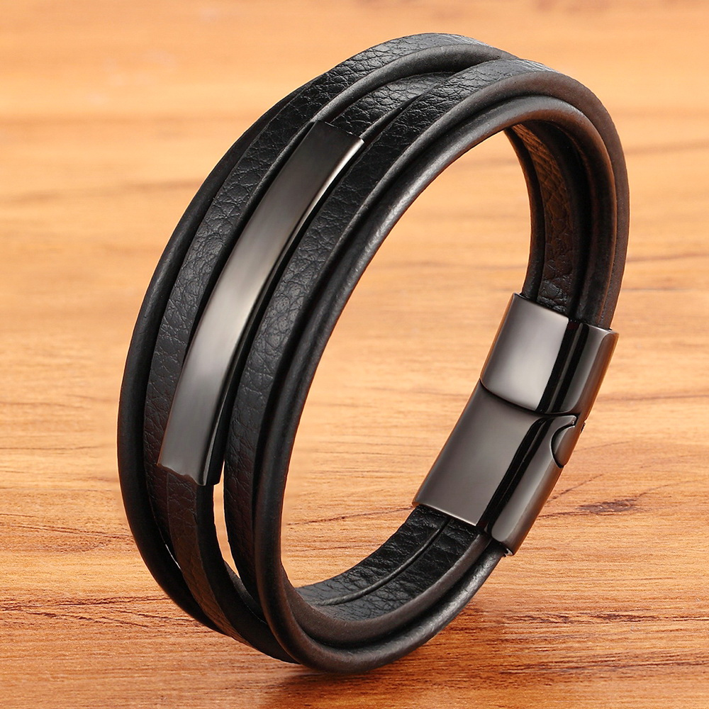 Geometric Stainless Steel Accessories Combination Leather Men's Bracelet Classic Multi-layer Luxury Style For Handsome Boys Gift