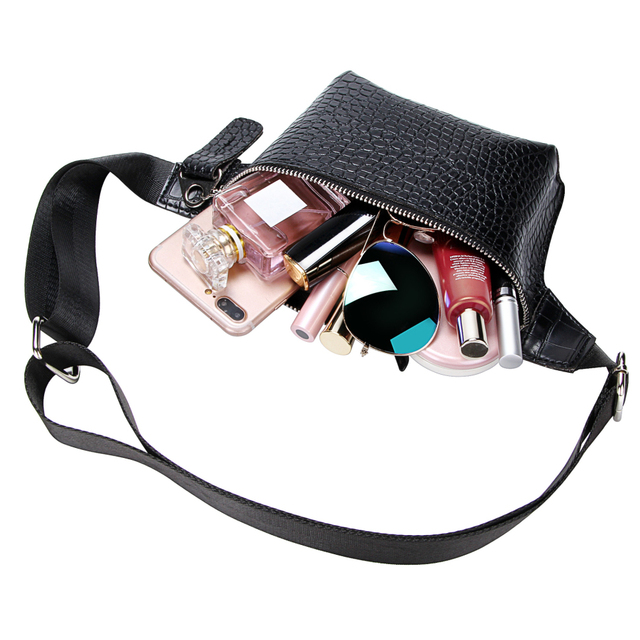 Casual Waist Bag for Women Alligator Leather Fanny Pack Phone Pouch Chest Packs Ladies Wide Strap Belt Bag Female Crossbody Flap Luggage & Bags