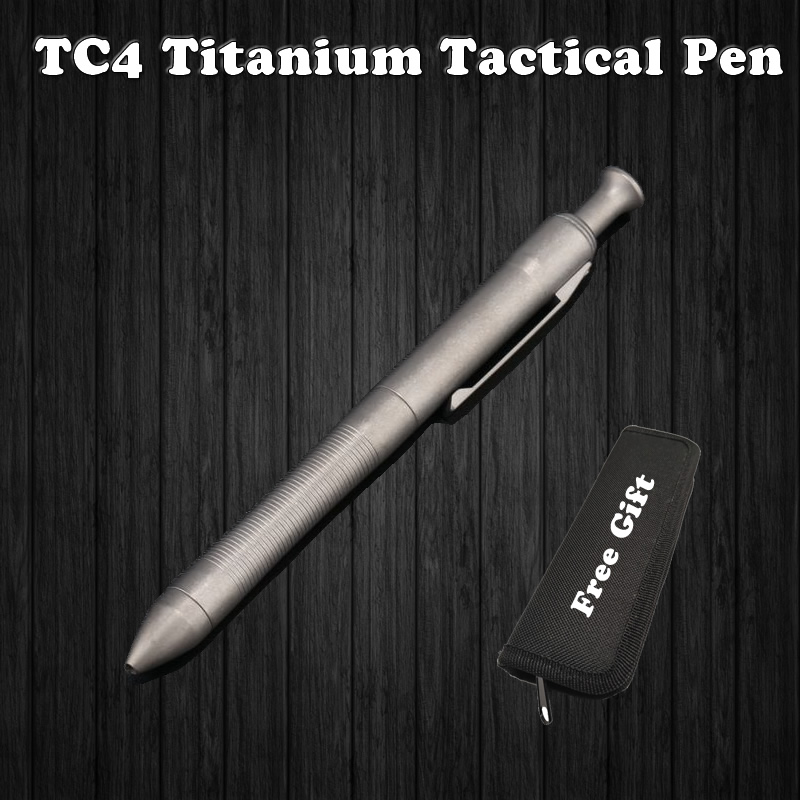 High Quality Titanium TC4 Tactical Pen Self Defense Business Writing Pen Outdoor EDC Tool Pen Bag Christmas Gift