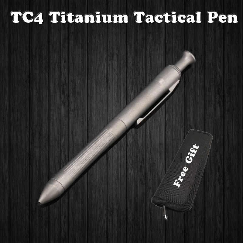 באיכות גבוהה טיטניום TC4 טקטי עט הגנה עצמית עסקים עט כתיבה חיצוני EDC כלי עט תיק מתנה לחג המולד