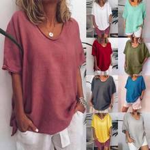 T-Shirts Women Casual Loose Summer Solid O-Neck Shirts Short Sleeves Plus Size 5XL Top Cotton Linen Women Shirt 6.11