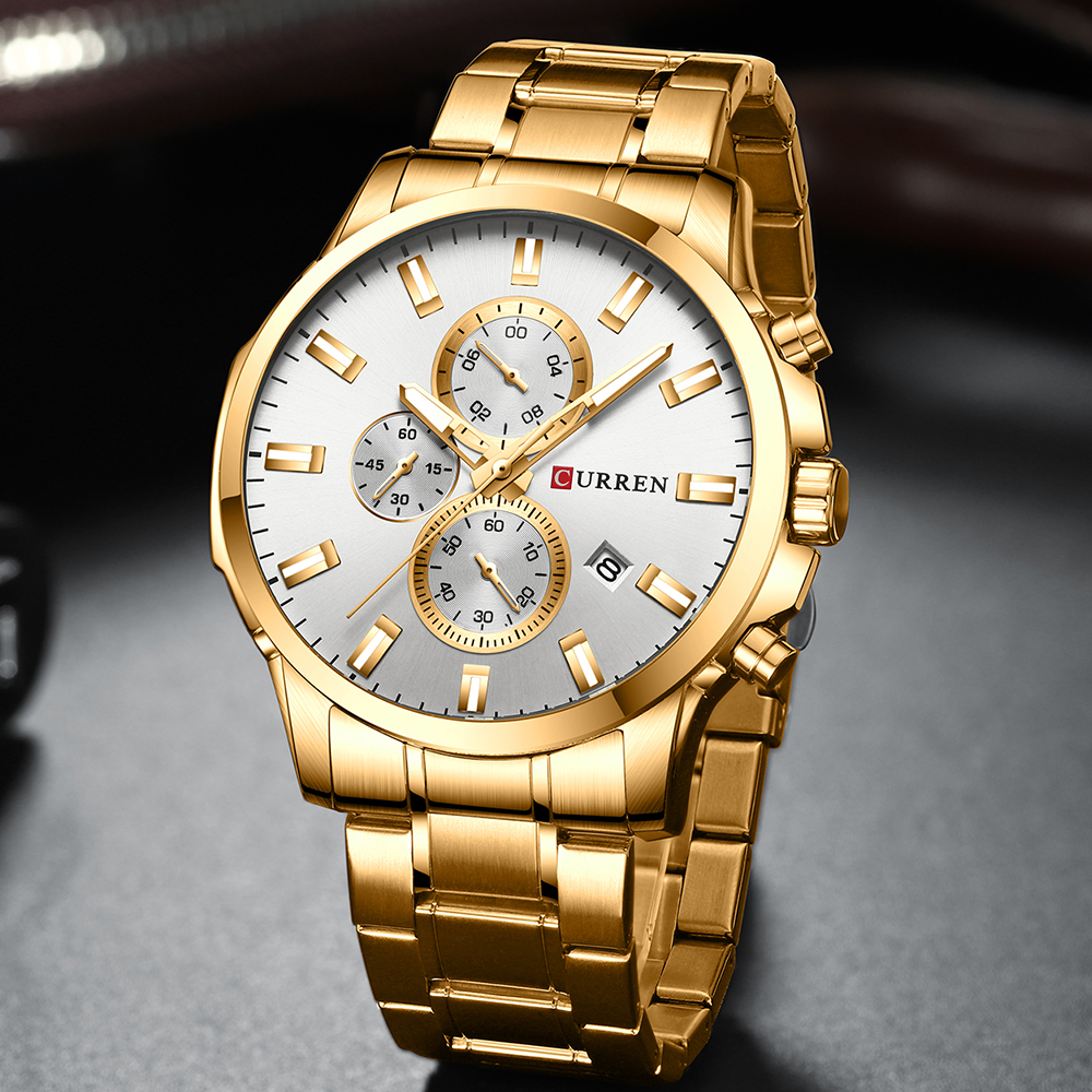 Image 2 - CURREN Men Luxury Brand Quartz Watch Military Watch Fashion Causal Chronograph Clock Stainless Steel Wristwatch Montre HommeQuartz Watches   -