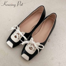 Shoes Pumps Loafers Krazing-Pot Lace-Up Square Toe Low-Heels Fashion Genuine-Leather