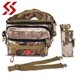 Sougayilang Waterproof Fishing Bag Multi-Purpose Backpack 3Layer  Nylon Bag Outdoor Fishing Tackle Bag Gray Camouflage