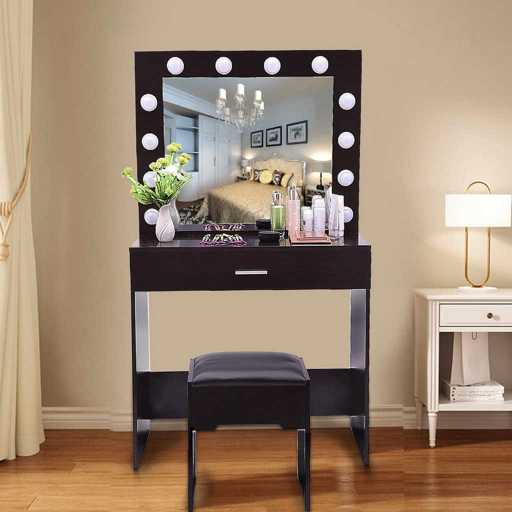 New Vanity Set With Lighted Mirror 2020 Cushioned Stool Dressing Table Bedroom Vanity Makeup Table Hot Free In Stock 4 7 Deliver Dressers Aliexpress