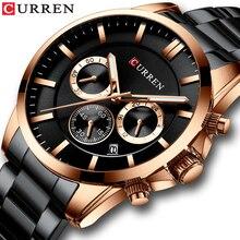 CURRENミリタリー時計ステンレス鋼腕時計クロノグラフと自動日付レロジオの Masculino