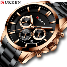 CURREN Military Watch Mens Fashion Style Quartz Stainless Steel Wristwatches with Chronograph and Auto Date Relogio Masculino