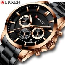 CURREN montre militaire pour hommes, bracelet à Quartz de Style à la mode, en acier inoxydable, avec chronographe et Date automatique