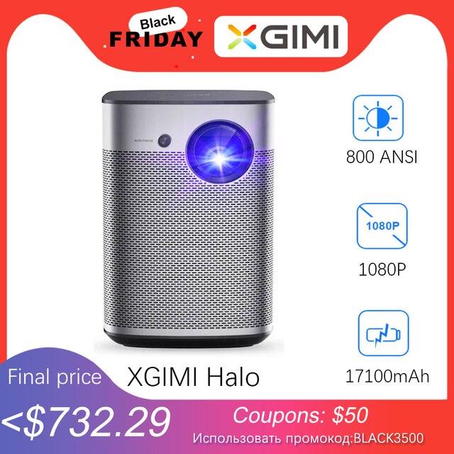 Мини проектор XGIMI Halo Full HD DLP, Android 9,0, Wi Fi, портативный, поддержка 4K видео ТВ, 3D домашний кинотеатр с аккумулятором, Google OS проектор.