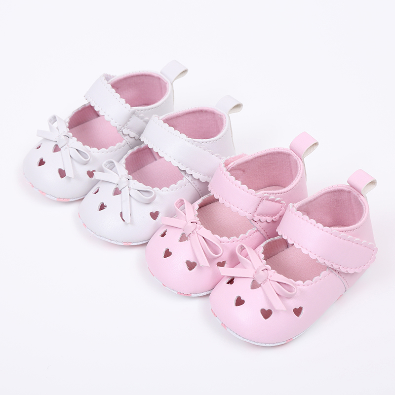 OEAK Newborn Baby Shoes Girl Heart Shaped Hollow Toddler First Walkers  Soft Anti-slip Infant Shoes