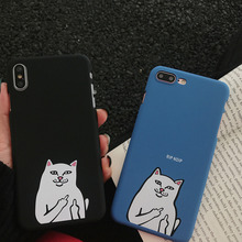 Art creative middle finger cat phone case for iPhone X XS XR XSmax 8 7 6 6S PluS 5 5s 5SE matte hard shell drop protection cover