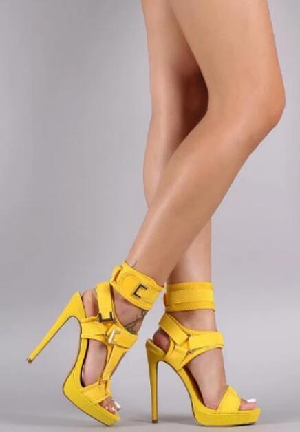 Sandales à plate forme à la mode bout ouvert découpé chaussures à talons hauts crochet et boucle bride à la cheville Sexy chaussures à talons aiguilles boucle décor sandales - 5