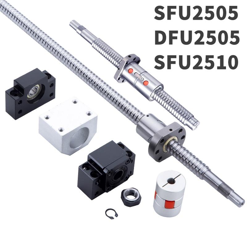 1 anti backlash 25mm ballscrew RM2505-930mm-C7+BK//BF15 end support bearing CNC