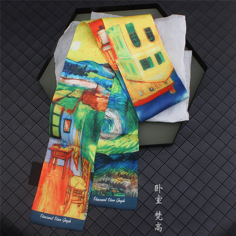 Van Gogh《Bedroom》Oil Painting Brand Silk Scarf Women Neckerchief Skinny Bag Scarf Female Headband Scarves Wraps For Ladies