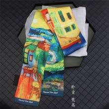 Van Gogh《Bedroom》Oil Painting Brand Silk Scarf Women Neckerchief Skinny Bag