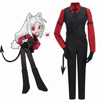 Game Helltaker Cerberus Cosplay Costume Adult Women Men Outfits Burgundy Red Shirt Pants Vest Gloves Tail Halloween Carnival the last of us ellie costume adult halloween custom red t shirt suit for women hot game fancy shirt ellie outfit