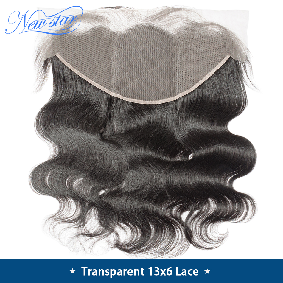 Transparent 13x6 Lace Frontal Closure Brazilian Body Wave Pre-Plucked Hairline With Baby Hair New Star Virgin Hair Lace Closure
