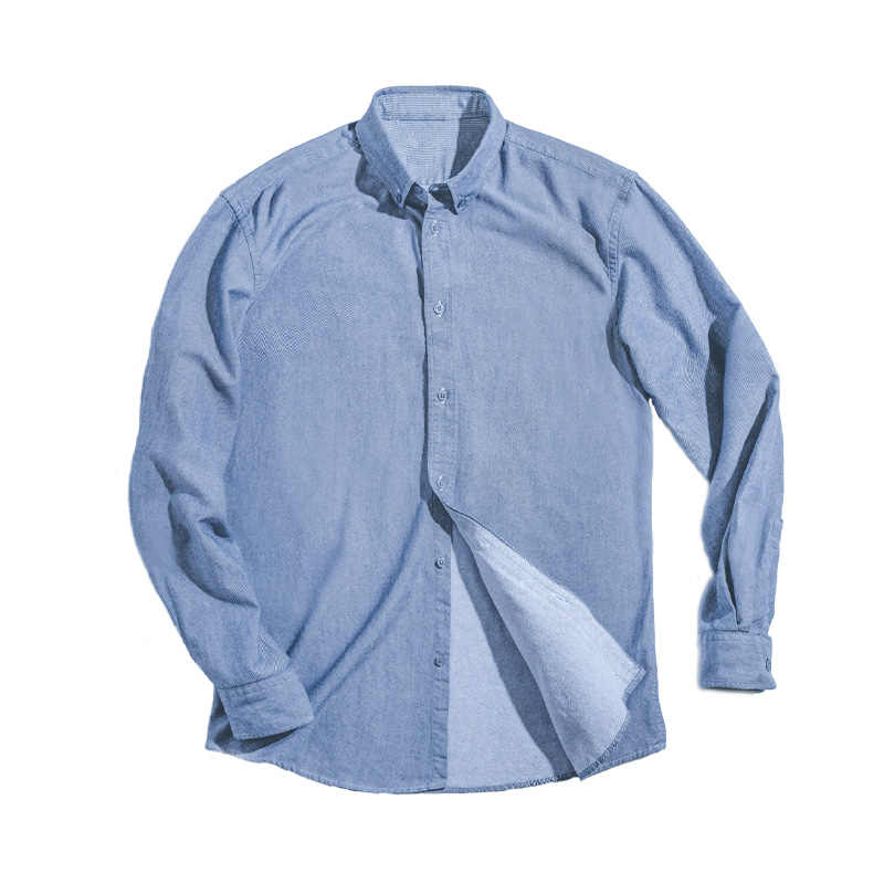 Maden di Cotone da Uomo Retro Oxford Camicia di Colore Solido Dell'annata di Camicia a Maniche Lunghe Slim Uomini
