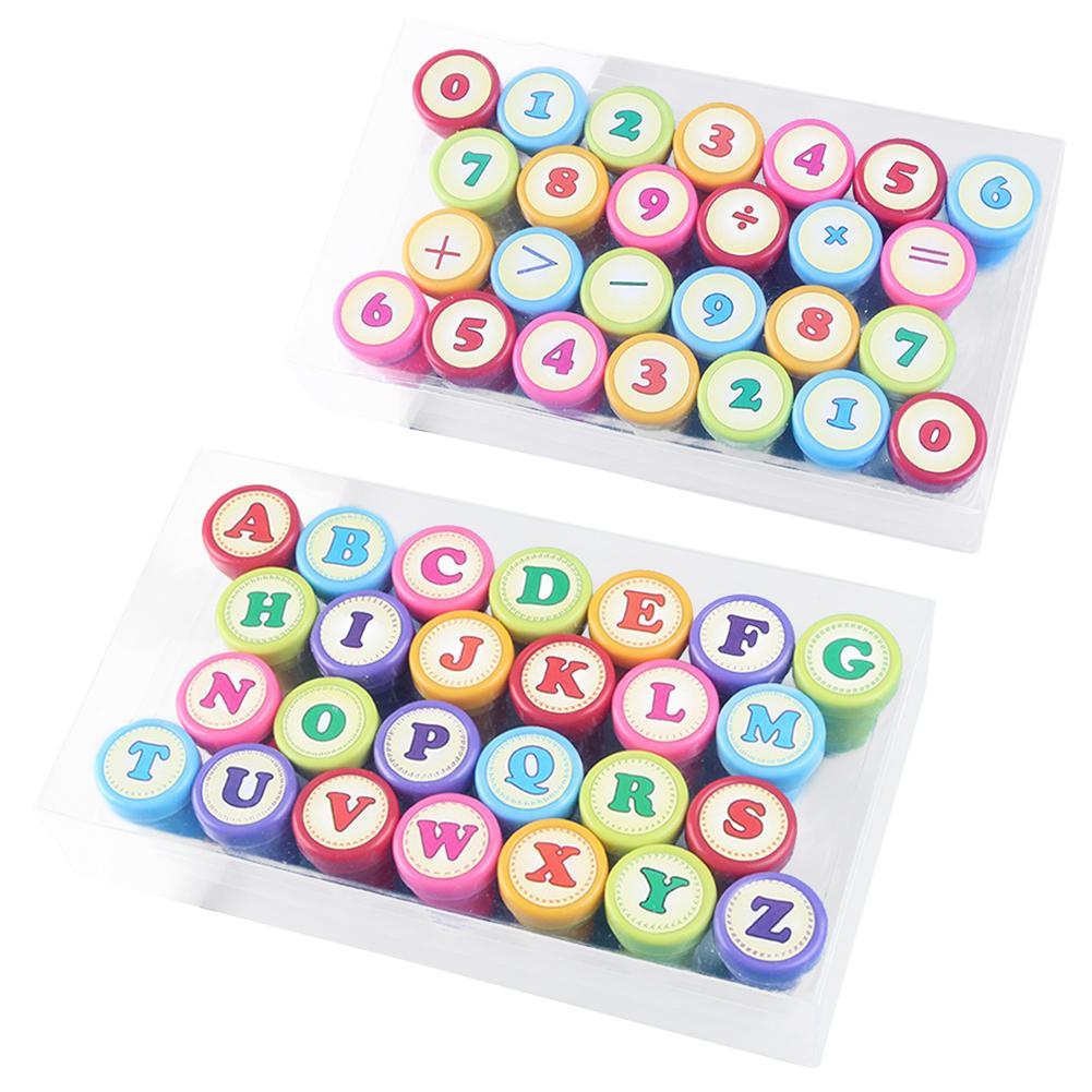 52pcs Children Stamps Toys English Alphabet Numbers Self Inking Rubber Stamper Kids DIY Seals Toy Kids English Teaching Aids