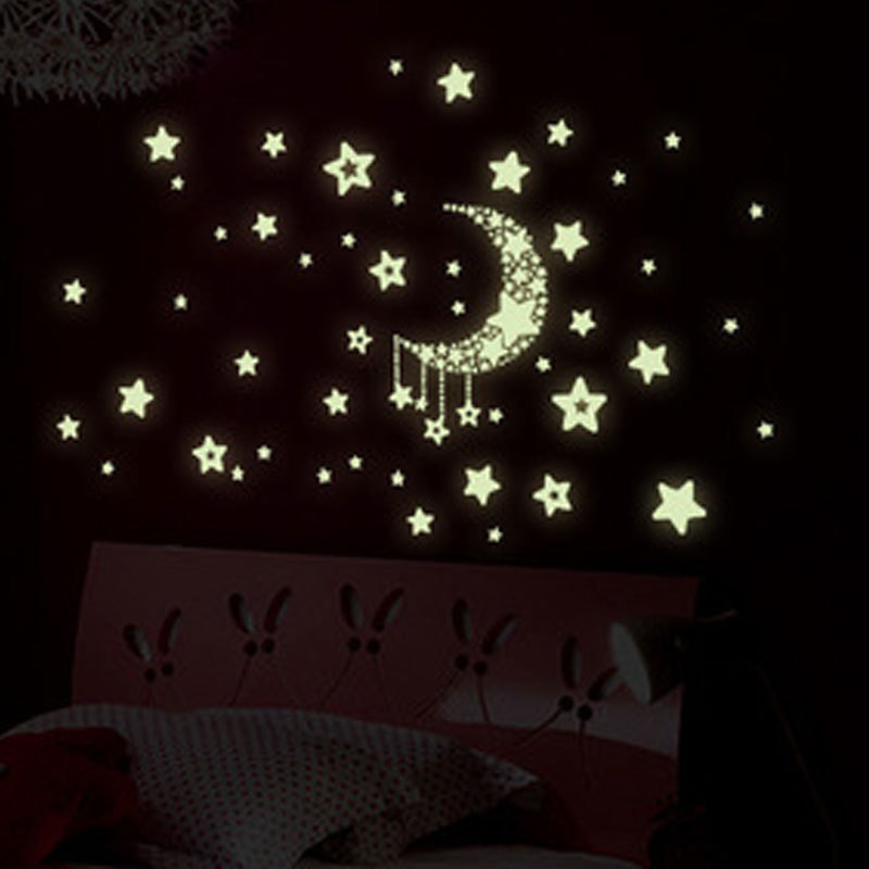 Luminous Moon And Stars Wall Stickers Art Design Stickers For Kids Room Home Decoration Wall Decals Glow In The Dark Decor